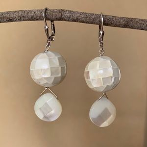 Mother of Pearl Inlayed Drop Earrings